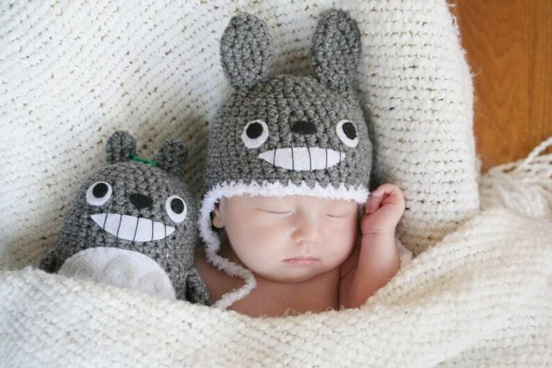 Crochet Totoro Hat Newborn Made To Order  7d17fa488d6