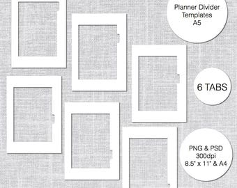 A5 Planner Divider Templates, 6 Tabs, PSD U0026 PNG, Instant Download