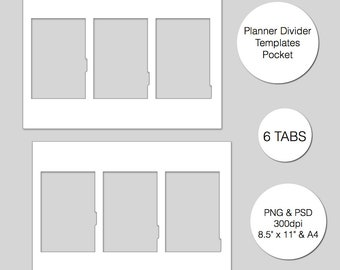 Divider tab template etsy pocket planner divider template 6 tabs psd png instant download maxwellsz