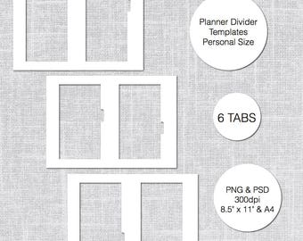 Personal Planner Divider Template, 6 Tabs, PSD U0026 PNG, Instant Download