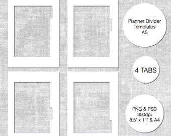 A5 Planner Divider Template 4 Tabs PSD PNG Instant Download