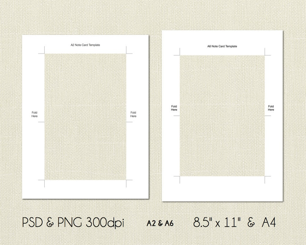 a2 and a6 folded note card printable template 4 25x5 5 etsy