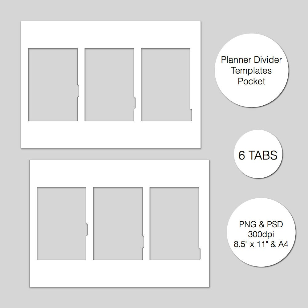 Pocket Planner Divider Template 6 Tabs PSD & PNG Instant | Etsy