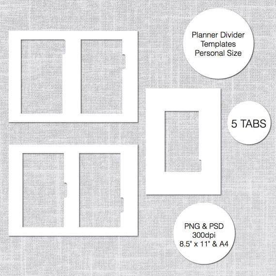 personal planner divider template 5 tabs psd png instant