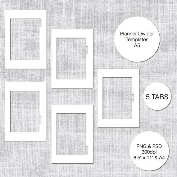 A Planner Divider Templates Tabs PSD PNG Instant Download - 5 tab divider template