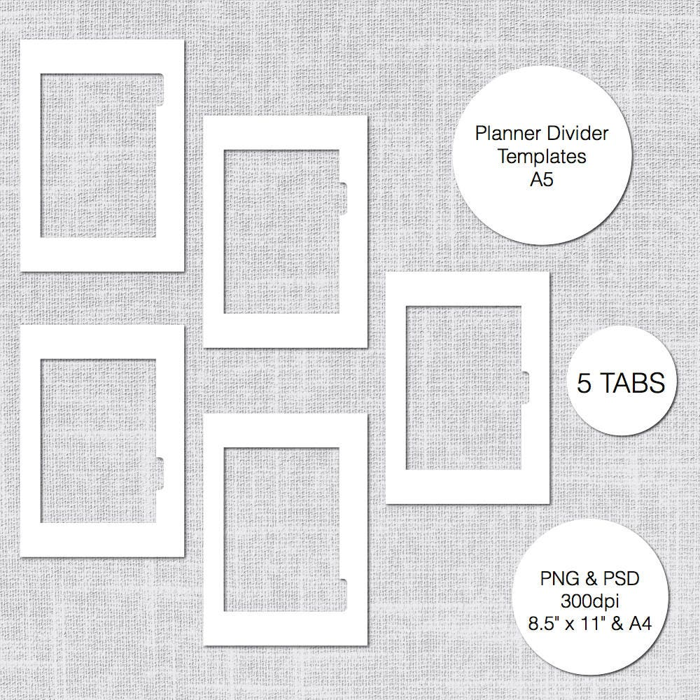 A5 Printable Planner Divider Templates 5 Tabs PSD & PNG | Etsy