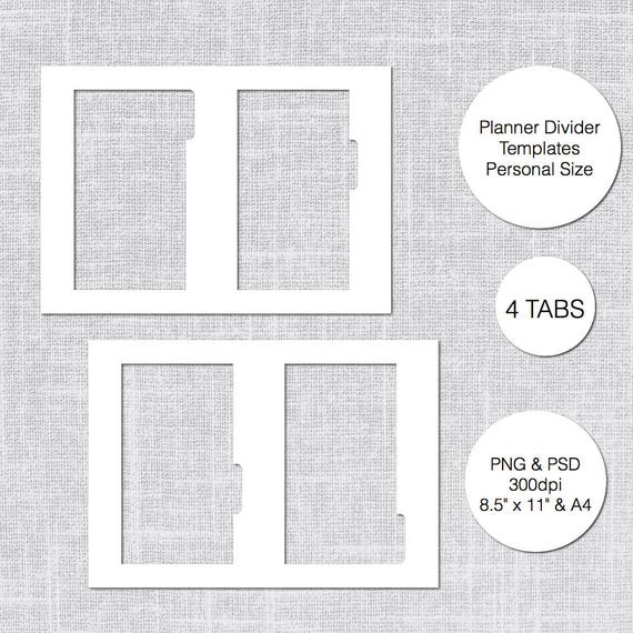 Personal Planner Divider Template 4 Tabs PSD PNG Instant