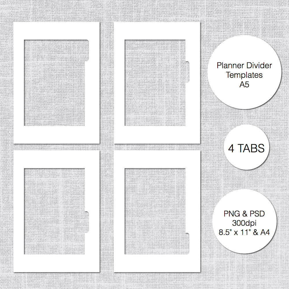 A5 Planner Divider Template 4 Tabs PSD & PNG Instant | Etsy