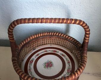 Vintage Basket with Porcelain Bottom
