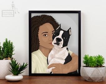 Two Subject Portrait, Pet Lover Custom Portrait, Digital Art, Pet Owner Poster, Personalized Art