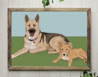 Custom Two Subject Pet Portrait, Gift for Pet Lover, Personalized Pet Art, Digital Art, Memorial Portrait
