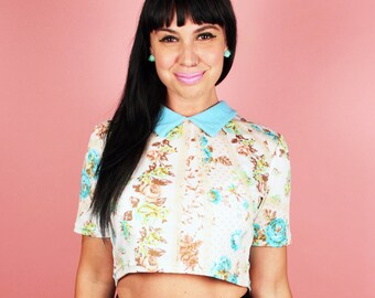 Baby Blue Lou Collard Crop Top
