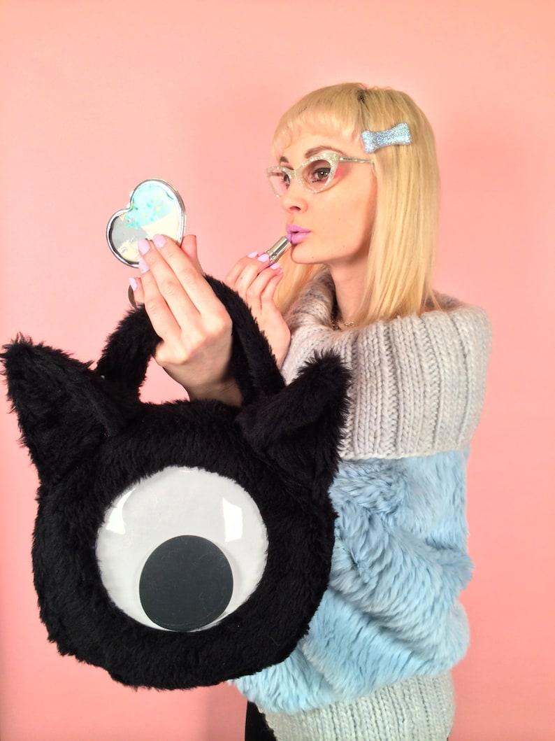 Cyclops Space Kitty Bag Googly Eye Black Faux Fur Purse image 0
