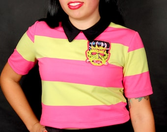 Frankenparty Halloween Collard Pinken Lime Top