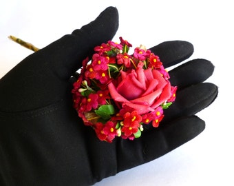 Gypsy Hats OOAK Pink Vintage Boutonniere Corsage Nosegay #6 for Boho Weddings
