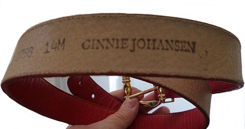 Vintage 1980s Ginnie Johansen Red Leather Belt Fits Waists 29 to 33 Inches Made in Spain