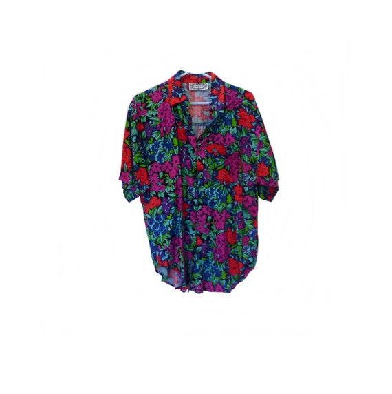 Oversized Camp Shirt, Bright Florals, Vintage 1980
