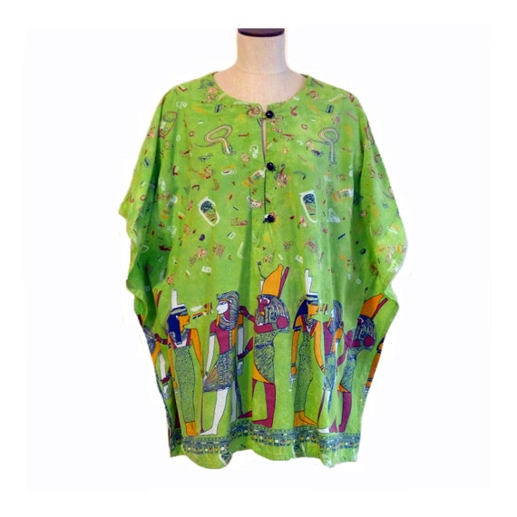 Egyptian Print Half Caftan, Bright Colors, Vintage