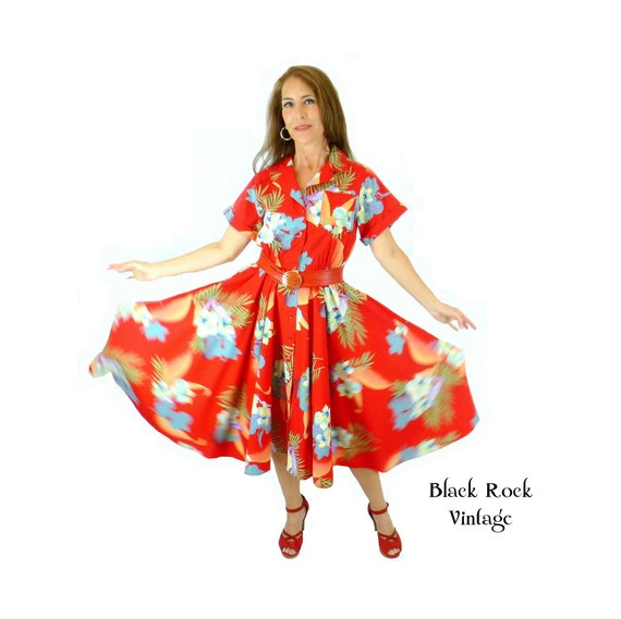 Red Dress with Big Florals, Fit and Flare Circle S