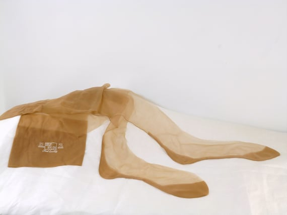 Fully Fashioned cuban heel seamed Copper Stockings size X small