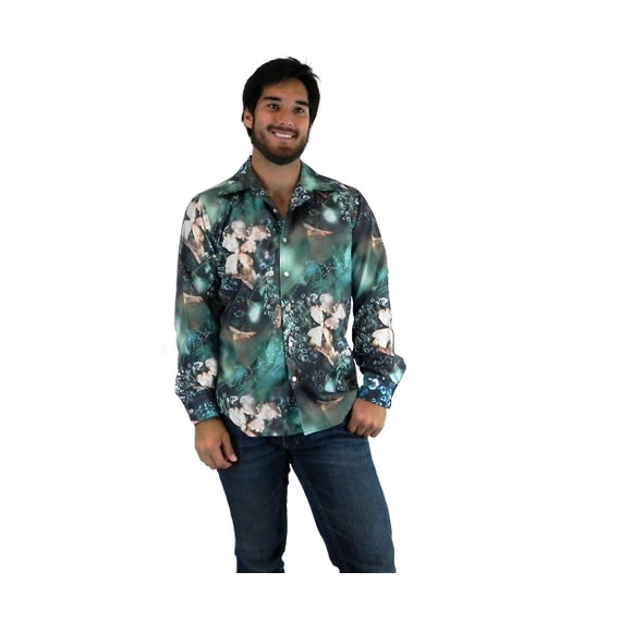 Photo Print Shirt, Flowers Spider Webs with Dew, V