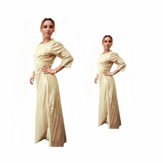 Gold Sparkle Maxi Dress, Vintage 1960s - 1970s, Si