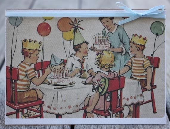 Birthday Card Old Fashioned Birthday Card Birthday Party Etsy
