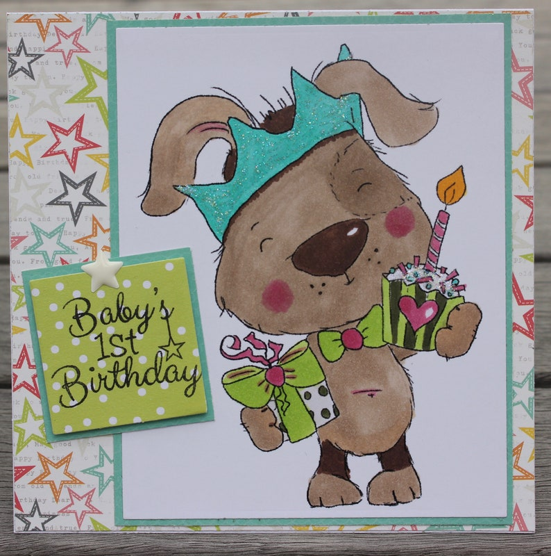 Babys 1st Birthday Card Dog Themed