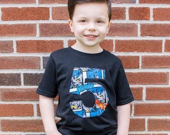 Boys Batman Birthday Shirt Superhero Number Party Top Gift For Little Boys
