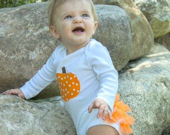 Polka Dot Pumpkin Ruffle Bottom Baby Girls Bodysuit - Fall Halloween Thanksgiving Pumpkin Costume
