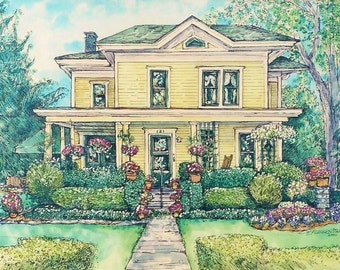 House Portrait Original Custom Painting of Your Home in Pen/Ink and Watercolor,Mothers Day,Housewarming,Holiday Gift