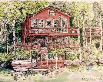 House Portraits in Watercolor and Pen and Ink from your photos