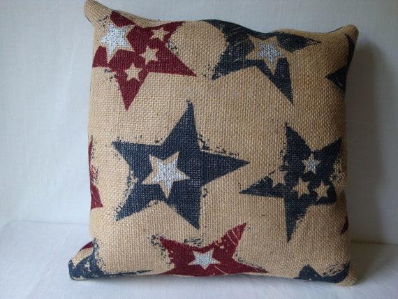 Burlap Patriotic Pillow July 40th Pillow Decorative Pillow Etsy Simple Burlap Star Decorative Pillow