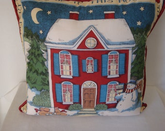 Vintage holiday decorative pillow, decorative pillow, Christmas decor, snowman and winter scene, corded pillow with zippered back