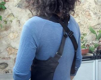 Minimalist Holster for women / Custom size / Black color / Adjustable