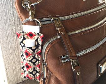 Lip Balm Key Ring -Red Tan and Black Geometric Print -Rodan + Fields Lip Shield Case, R+F,Lip Gloss Keychain,Lip Balm Clip,Lip Balm Keychain
