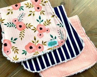 Baby Girl Burp Cloth Set of 3 - Contoured or Rectangular - Boutique Chenille Burp Rags - Pretty Peach Pink Floral and Navy Stripe