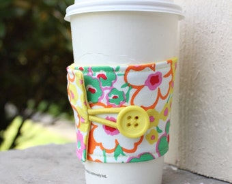 Fabric Cup Cozy - Jenny Eliza Floral - Pink Yellow Green Flowers - Jennifer Paganelli -Cardboard Coffee Shop Cup Sleeve - Small Teacher Gift