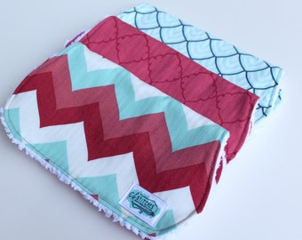 Burp Cloths - Set of Three Chenille Baby Burp Rags - Coral Pink and Aqua Chevron - New Baby Gift - Boutique Burp Cloth - Infant Feeding