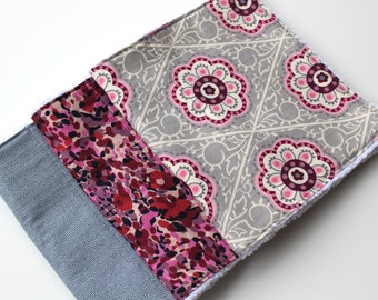 Burp Cloth Set for Baby Girls - Feminine Burp Cloths - Set of Three Chenille Burp Rags - Grey and Pink/Purple Flowers - New Baby Girl Gift