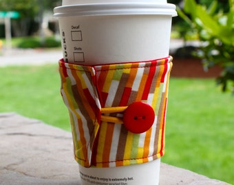 Reusable Coffee Cup Cozy / Sleeve - Eclectic Stripes in Clementine - Boho by Urban Chiks - Red and Yellow Striped Cup Cozy