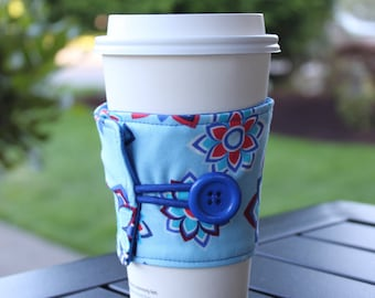 Coffee Cup Mug Wrap - Red and Blue Fabric Coffee Cozy - Sunkissed Blue - Beechwood Park - Java Wrap - Drink Holder