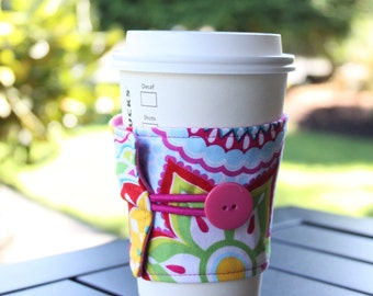 Reusable Coffee Cup Sleeve by CK Stitches - Sunny Day Flowers - Pink, Teal, and Yellow Floral Coffee Cozy - Cute Eco Friendly Gift - Easter