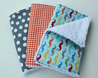 Chenille Burp Cloths - Baby Boy Burp Cloth Set - Multicolor Mustache, Orange Houndstooth, Grey Polka Dots - Riley Blake - Baby Boy Gift