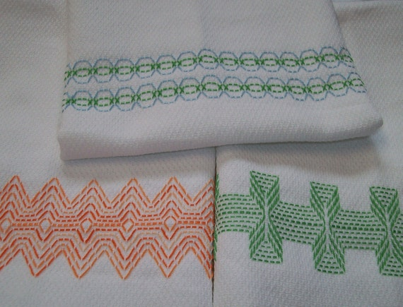Swedish Weaving Huck Embroidery Border Set A Etsy