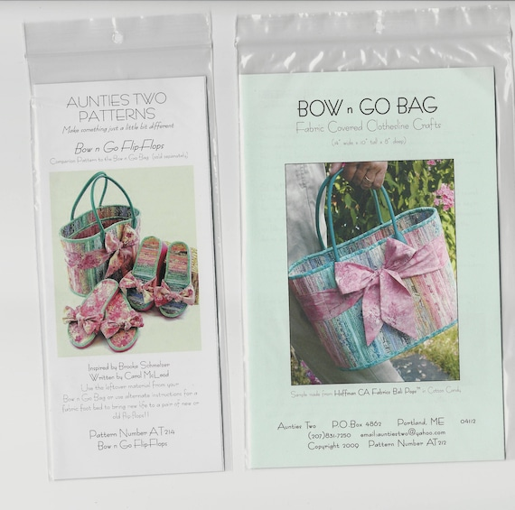 1be060042 Bow n Go patterns by Aunties Two 2 pattern set Bag and