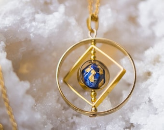 Lapis lazuli necklace,Planet necklace,celestial jewelry,galaxy jewelry, unique gift for her,spinner necklace,science jewelry,space jewelry