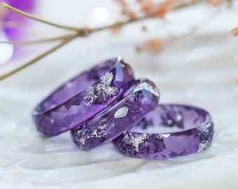 Pastel Lavender Purple Silver Ring Resin Crystal Pendant Necklace