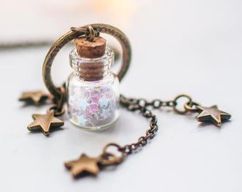 Inspirational Miniature Stars necklace,glass Bottle necklace,Celestial jewelry,vial necklace,cute necklace,bottle jewelry,gift for women