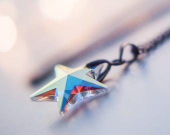 Swarovski star necklace, star pendant, Swarovski Crystals pendant, Ab crystal star jewelry, celestial clothing gift for women christmas gift